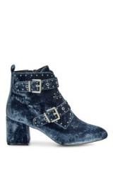 REBECCA MINKOFF VELVET LOGAN BOOTIE | blue buckle booties | luxe ankle boots