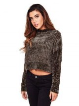 GUESS SWEATER WITH ZIP   green crop jumpers   chunky sweaters