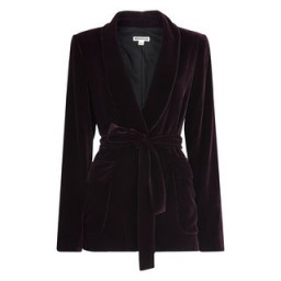 WHISTLES Velvet Tie Wrap Jacket Fig / luxury style purple belted jackets