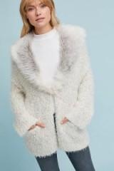 Sleeping On Snow Venla Faux Fur Collar Cardigan   ivory cardigans   luxe style knitwear