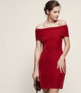 REISS VERITY VELVET OFF-SHOULDER DRESS RED ~ bardot evening dresses ~ party fashion
