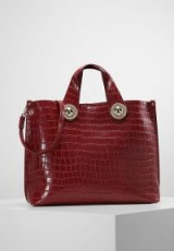 Versace Jeans CROCO BIG Tote bag in rosso – red faux leather croc embossed handbags