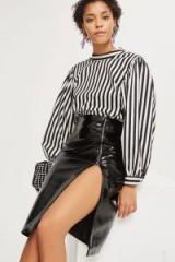Topshop Vinyl Split Midi Skirt | shiny black front slit skirts