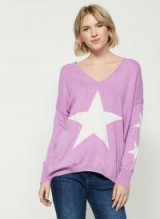 MINT VELVET VIOLET STAR FRONT COCOON KNIT / pale purple slouchy jumpers