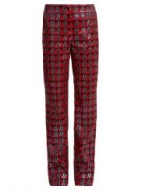 DIANE VON FURSTENBERG Waved-check jacquard straight-leg trousers ~ metallic-red suit trousers