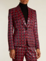 DIANE VON FURSTENBERG Waved-check single-breasted jacquard jacket ~ metallic-red suit jackets