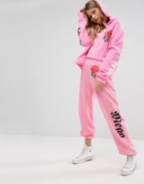 Wildfox Mega Chic Rose Hoodie & Joggers Co-Ord ~ pink hoodies ~ designer jogger set