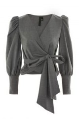 Topshop Wrap Long Sleeve Blouse | grey puff sleeved blouses