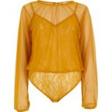 River Island Yellow mesh long sleeve lace bodysuit ~ semi sheer bodysuits