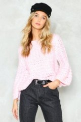 Nasty Gal You're No Knitter Sweater – chunky baby pink sweaters – stylish loose jumpers