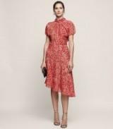 REISS ZHEN BURNOUT-DETAIL MIDI DRESS MARASCHINO ~ red asymmetric dresses