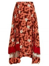 TOGA Abstract floral-print panelled midi skirt ~ red asymmetric skirts