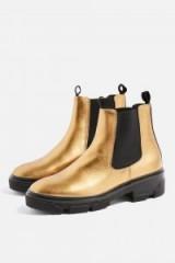 TOPSHOP A-Game Bronze Metallic Chelsea Boots