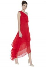 Alice + Olivia ALANIS RUFFLE GOWN ~ red silk one shoulder gowns