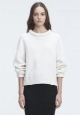 ALEXANDER WANG BOILED WOOL SWEATER   ivory wide neck jumpers