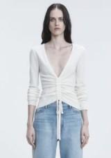 ALEXANDER WANG RUCHED V-NECK SWEATER   ivory deep V neckline jumpers