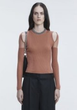 ALEXANDER WANG SHEER SHOULDER PULLOVER in BRICK RED   cut out jumpers