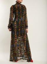 PREEN BY THORNTON BREGAZZI Ameline high-neck silk-blend devoré dress ~ long floral ruched front dresses