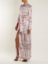 GALVAN Andina Llama-print silk-satin shirtdress ~ chic silky shirt dresses