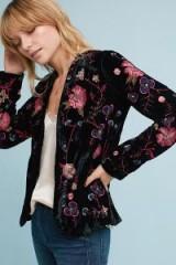 Anthoula Embellished Velvet Jacket in black / beaded and embroidered jackets