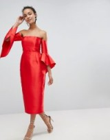 ASOS Bandeau Fluted Sleeve Midi Dress in hot red