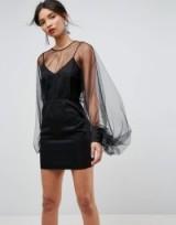 ASOS Extreme Sleeve Mesh Mini Dress – sheer balloon sleeved party dresses – lbd