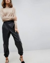 ASOS Low Rise Track Pant in Soft Leather Look | cuffed black pants