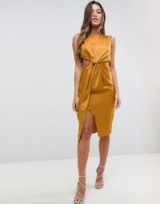 ASOS Twist Front Sexy Satin Pencil Dress with Cut Out / silky gold party dresses