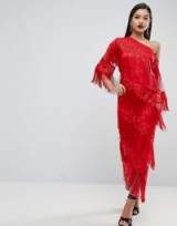 ASOS EDITION Embroidered One Shoulder Fringe Midi Dress – red statement party dresses
