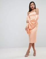 ASOS EDITION Extreme Blouson Sleeve Midi Dress in Satin in Apricot