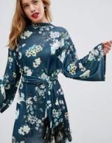 ASOS PETITE Kimono Sleeve Bird Print Dress with Self Fringe Belt | oriental prints | belted dresses