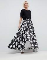 ASOS WHITE Stripe And Spot Full Maxi Skirt | long occasion skirts