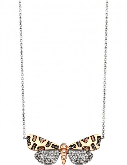 ASTLEY CLARKE Crimson Speckled Moth 14ct white-gold and diamond necklace / pendant necklaces