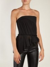 SAINT LAURENT Asymmetric gathered strapless top | ruffled evening tops