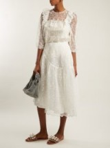 SIMONE ROCHA Asymmetric-hem floral-lace skirt – luxe midi skirts