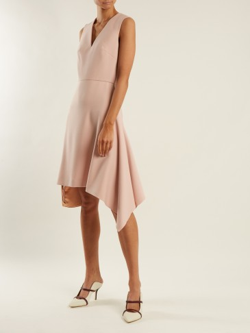 ROLAND MOURET Aylsham V-neck draped crepe dress ~ rose-pink asymmetric dresses ~ feminine & chic