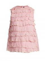 JUPE BY JACKIE Bagana tiered-ruffle silk-organza top ~ pink frilly tops