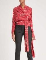 BALENCIAGA Chain-print silk shirt ~ red wrap shirts
