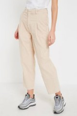 BDG Ecru Corduroy Cocoon Trousers – neutral cropped cord pants