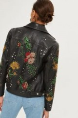 TOPSHOP Beaded Leather Biker Jacket / floral jackets