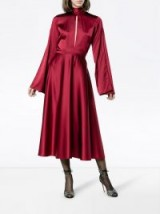 BEAUFILLE Maxi dress with flared sleeves ~ silky red dresses