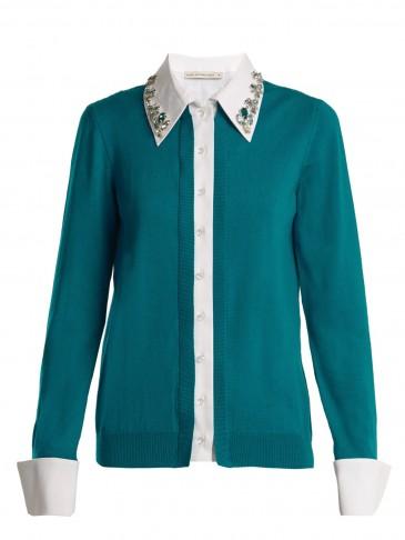MARY KATRANTZOU Bextor crystal-embellished wool cardigan ~ layered shirt cardigans ~ teal-green knitwear