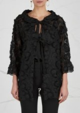 BOUTIQUE MOSCHINO Black floral-embroidered jacket ~ semi sheer evening jackets ~ chic eveningwear