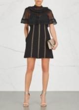 SELF-PORTRAIT Black lace-trimmed cape dress ~ evening dresses