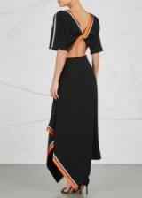 DIANE VON FURSTENBERG Black open-back dress ~ crepe handkerchief hem dresses