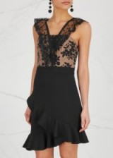 THREE FLOOR Black ruffle-trimmed dress ~ lace party dresses ~ ruffled evening wear