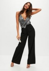 missguided black sequin wide leg jumpsuit – glamorous plunging jumpsuits – evening glamour