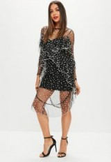 Missguided black spotty mesh dress – sheer party dresses