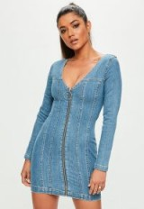 Missguided blue fitted zip through long sleeved denim dress | plunging neckline dresses