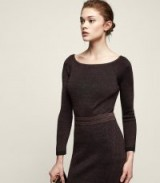 REISS BROOKE RIBBED KNITTED TOP CHOCOLATE | brown round neck knit